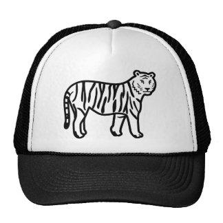 Cartoon Tiger Made from Black Lines Trucker Hat