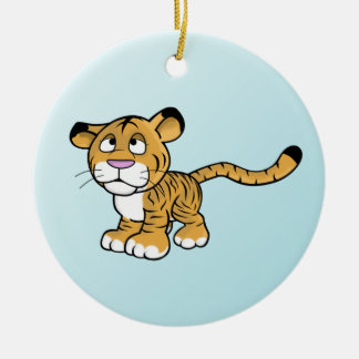 cartoon tiger Double-Sided ceramic round christmas ornament