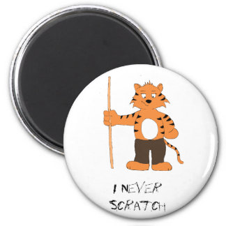 Cartoon Tiger With Pool Cue 2 Inch Round Magnet