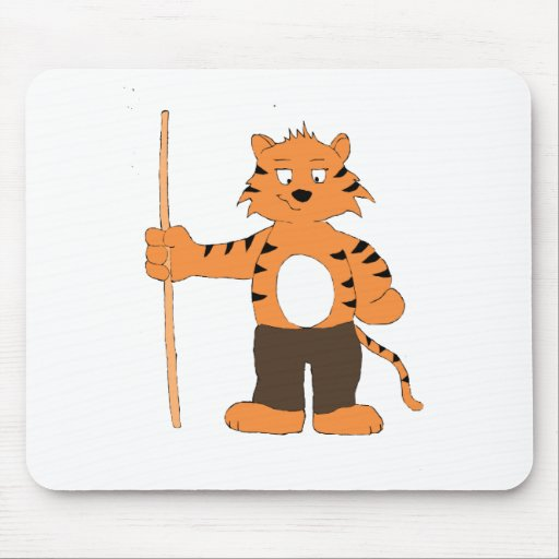 Cartoon Tiger With Pool Cue Mousepads