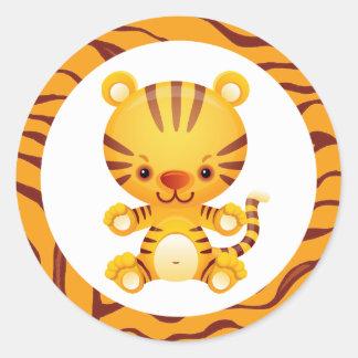 Cartoon Tiger with Tiger Print Classic Round Sticker