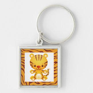 Cartoon Tiger with Tiger Print Keychain