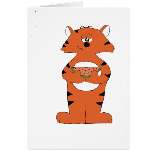 Cartoon Tiger With Watermelon Greeting Card