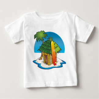 Cartoon Tiki Hut with Surfboard and Palm Baby T-Shirt