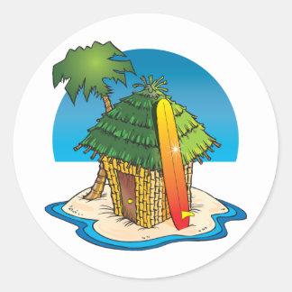 Cartoon Tiki Hut with Surfboard and Palm Classic Round Sticker