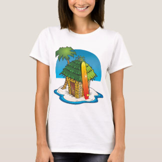 Cartoon Tiki Hut with Surfboard and Palm T-Shirt