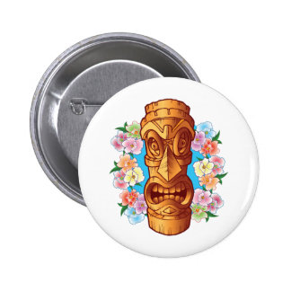 Cartoon Tiki Statue Button