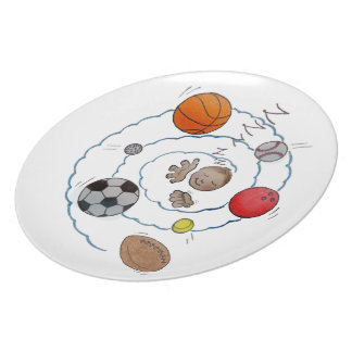 Cartoon toddler boy dreaming of sport s balls party plate
