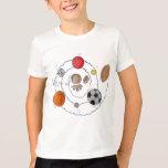 Cartoon toddler boy dreaming of sport's balls T-Shirt