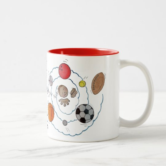 Cartoon toddler boy dreaming of sport's balls Two-Tone coffee mug