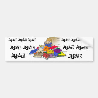 Cartoon toddler boy reading surrounded by books bumper sticker