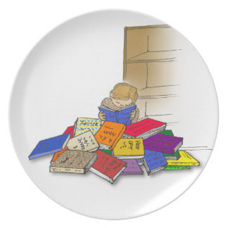 Cartoon toddler boy surrounded by books plate