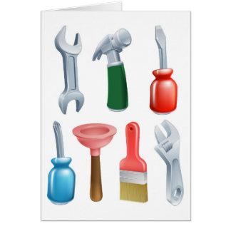 Cartoon tools icons set greeting card