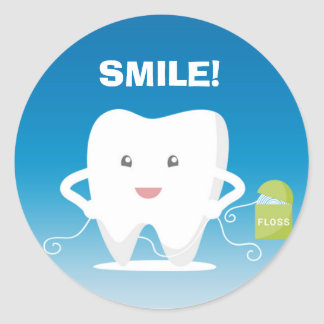 Cartoon Tooth, Floss Dental Sticker