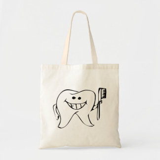 Cartoon Tooth Holding Toothbrush Tote Bags