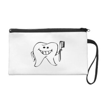 Cartoon Tooth Holding Toothbrush Wristlet Clutches
