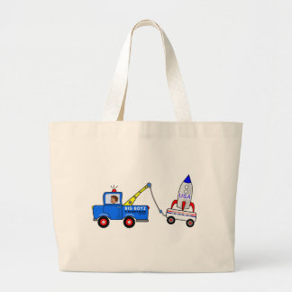 Cartoon Tow Truck and Driver Large Tote Bag