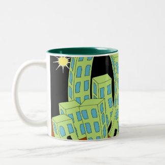 Cartoon Town Night Skyline Two-Tone Coffee Mug