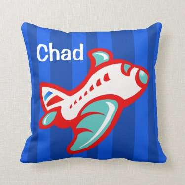 Cartoon Toy Airplane | red blue Throw Pillows