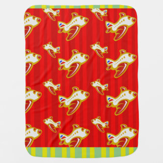 Cartoon Toy Airplane | red gold Swaddle Blanket
