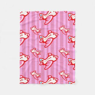 Cartoon Toy Airplane | red pink Fleece Blanket