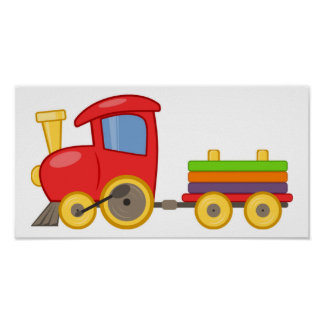 Cartoon Train Poster Print