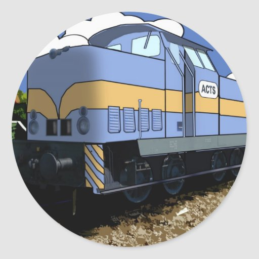 Cartoon Train Round Stickers