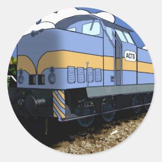 Cartoon Train Round Stickers