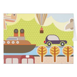 Cartoon Transportation Scene Card