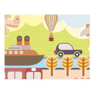 Cartoon Transportation Scene Postcard