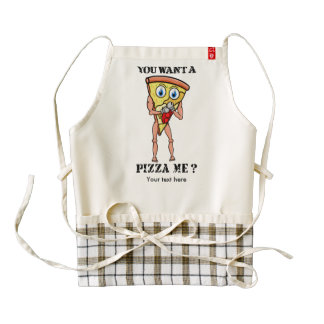 Cartoon Trash Talking Pizza Boxing Zazzle HEART Apron