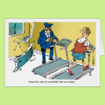 Cartoon treadmill accident during exercise card