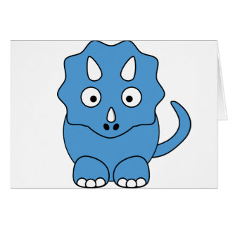 Cartoon Triceratops (blue) Greeting Cards