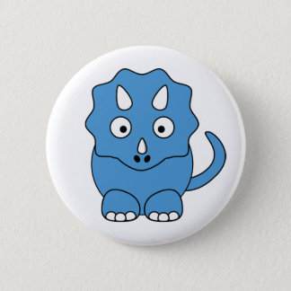 Cartoon Triceratops (blue) Pinback Button