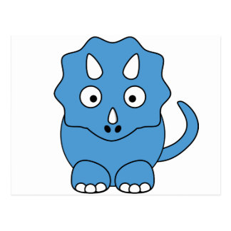 Cartoon Triceratops (blue) Post Cards