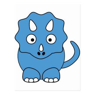 Cartoon Triceratops (blue) Postcard