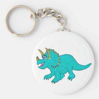 Cartoon Triceratops Dinosaur in Crayon Basic Round Button Keychain