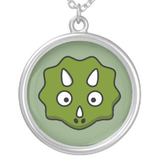 Cartoon triceratops face silver plated necklace