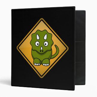 Cartoon Triceratops Warning Sign Binder