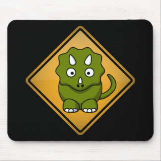 Cartoon Triceratops Warning Sign Mouse Pad