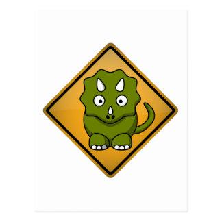 Cartoon Triceratops Warning Sign Postcard