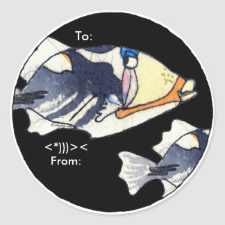 Cartoon Trigger Fish Personalized Labels Classic Round Sticker
