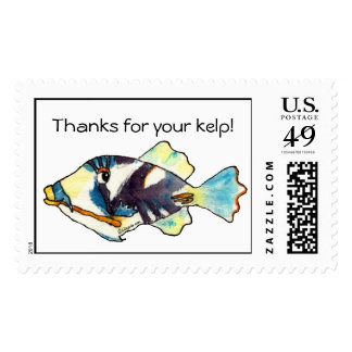 Cartoon Tropical Fish Postage Stamps