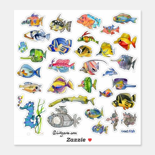 Cartoon Tropical Reef  Fish 3 Watercolor Sticker