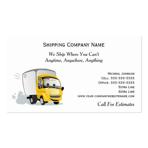 Cartoon truck in motion shipping moving company double for Moving business cards