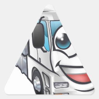 Cartoon Truck Lorry Transport Mascot Character Triangle Sticker