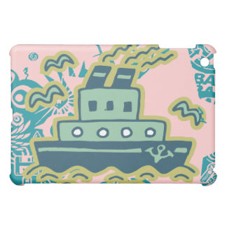 Cartoon Tug Boat on Pink  iPad Mini Cover