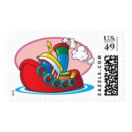 Cartoon Tugboat Stamp