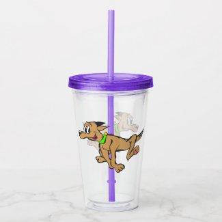 Cartoon Tumbler: Running Happy Dog Acrylic Tumbler