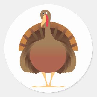 Cartoon Turkey Classic Round Sticker